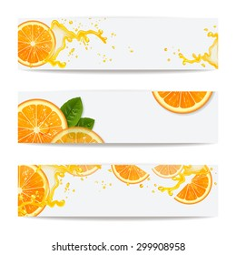 Banners with background of fresh oranges