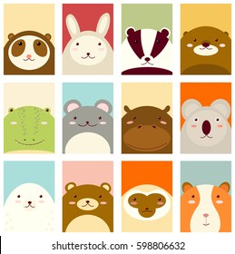 Banners, backgrounds, flyers, placards in hand drawn style with cute animals. Poster for scrapbooking. Vector template card for greeting, decoration, congratulation, invitation in retro pastel colors