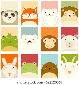 Banners, backgrounds, flyers, placards in hand drawn style with cute animals. Poster for scrapbooking. Vector template card for greeting, decoration, congratulation, invitation in pastel colors. ESP8
