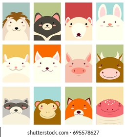 Banners, backgrounds, flyers, placards in hand drawn style with cute animals. Poster for scrapbooking. Vector template card for greeting, decoration, congratulation, invitation in retro colors. EPS8