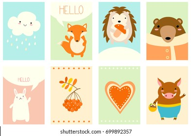 Banners, backgrounds, flyers, placards in hand drawn style with cute forest animals. Poster for scrapbooking. Vector template card for greeting, decoration, congratulation, invitation, stickers. EPS8