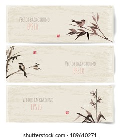 Banners with bamboo, birds and orchid. Vector illustration. Traditional Japanese painting. Hand-drawn with ink. Sealed with decorative red stamp.