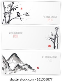 Banners with bamboo, mountains and bird in sumi-e style. Vector illustration. Traditional Japanese painting. Hand-drawn with ink.