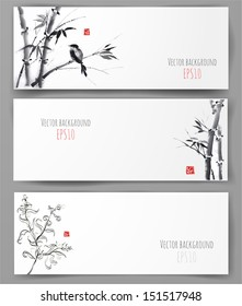 Banners with bamboo, willow and bird in sumi-e style. Vector illustration. Traditional Japanese painting. Hand-drawn with ink.