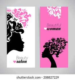 Banners of beautiful women silhouettes with flowers. Beauty salon design. Vector illustration