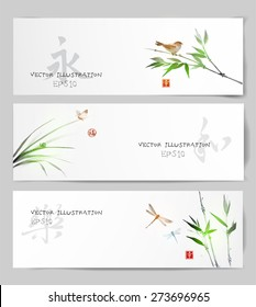 """Banners with birds on bamboo trees,  grass, butterfly and dragonflies  hand-drawn in traditional Japanese style sumi-e. Sealed with hieroglyphs """"luck', """"happiness"""", """"eternity"""", """"joy' and """"harmony""""."""