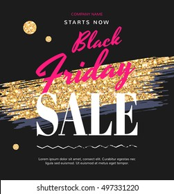 Banners for the Black Friday sale. Sale Fashion modern web banner with Gold Brush