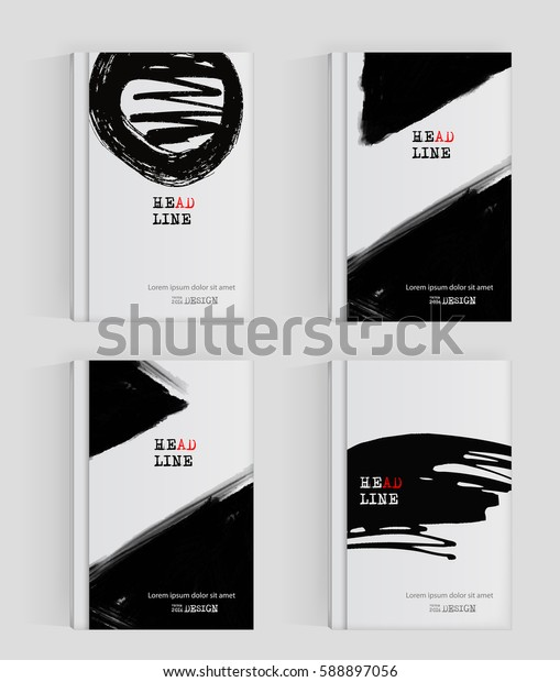 Banners black ink. Grunge style. Vertical poster. Vector illustration