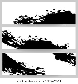 Banners with black paint splash. Vector set of banners with brush strokes. Isolated on white background