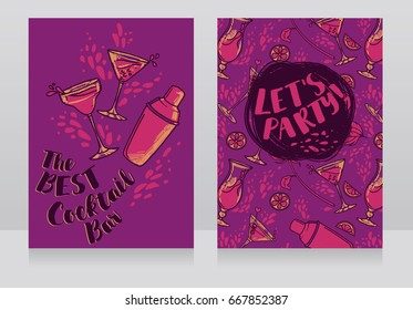Banners for cocktails bar,  can be used as party invitation, pink and lilac colors, vector illustration