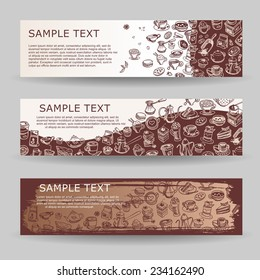 banners with coffee and sweets drawn elements