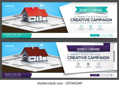 Banners or cover for website with realistic house.
