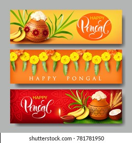 Banners design for Indian harvest festival Pongal (Makar Sankranti). Vector set.