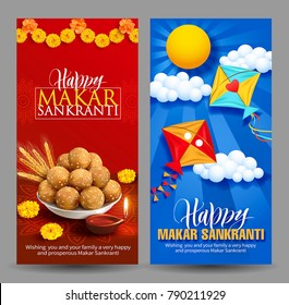 Banners design for Indian harvest festival Makar Sankranti (Pongal). Vector set.