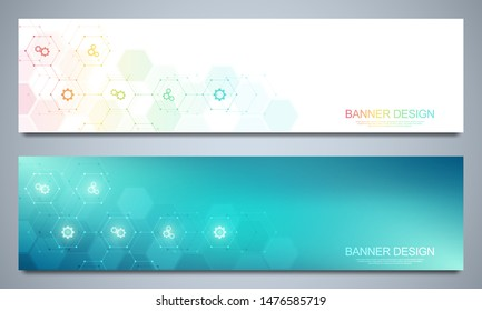 Banners design template for technological and scientific decoration with flat icons and symbols
