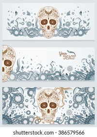 Banners of Dia de los Muertos sugar skull with ornate on an abstract floral ornamental spring background. Day of The Dead