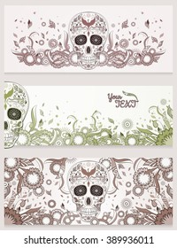 Banners of Dia de Muertos sugar skull with ornate on an abstract floral ornamental background. Day of The Dead