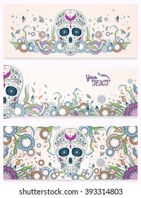 Banners of Dia de Muertos sugar skull with ornate on an abstract floral ornamental spring background. Day of The Dead
