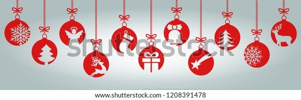 Banners from different Christmas balls. Christmas symbol icons hanging, Merry Christmas, Happy New Year – vector
