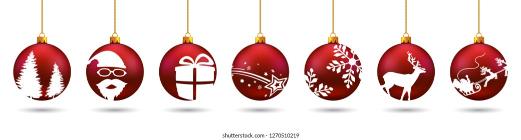 Banners from different red Christmas balls. Christmas symbol icons hanging, Merry Christmas, Happy New Year – for stock