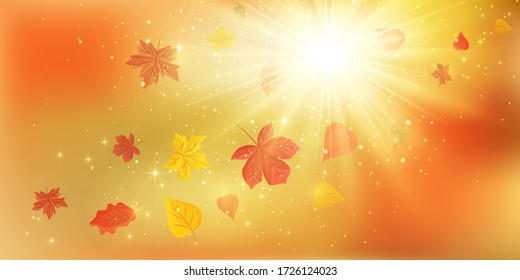 Banners with fall leaves. Autumn background. Fall Abstract autumnal background with colorful leaves, on wind. EPS 10