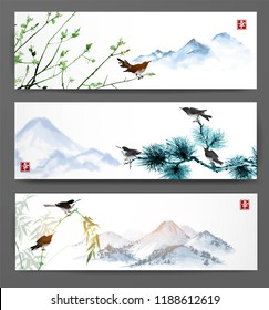 Banners with far mountains and birds of trees. Traditional Japanese ink painting sumi-e, u-sin, go-hua. Hieroglyph - happiness, double luck