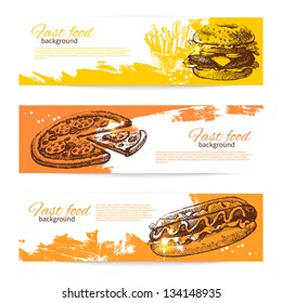 Banners of fast food design. Hand drawn illustrations. Splash blob backgrounds