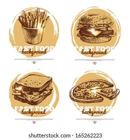 Banners of fast food sketch design. Hand drawn illustrations. Splash blob backgrounds