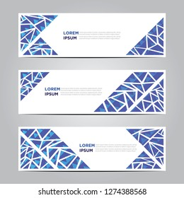 banners with flat geometric patterns. Blue background. Modern vector template. EPS 10