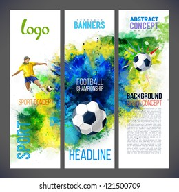 Banners with with football players and ball. Sports banners with Soccer player and ball football against the background with watercolors. Isolate on white. Logo sport signs.