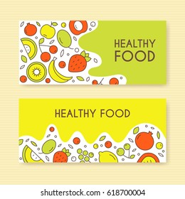 Banners with fruit about healthy eating. Vector banners template for healthy eating.