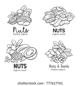 Banners with hand drawn nuts and seeds. Pistachio, cashew, coconut, hazelnut and macadamia. Cola nut, pumpkin seed, peanut and sunflower seeds. Vector illustration in sketch retro style.