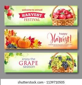 Banners for Harvest Festival. Vector set.