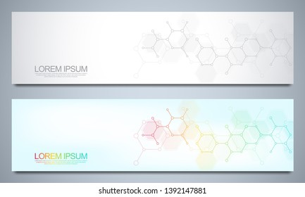 Banners and headers for site with medical background and molecular structures. Abstract geometric texture. Modern design for decoration website and other ideas