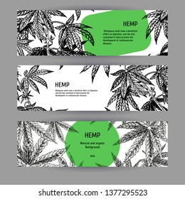 Banners with hemp leaves. Black-white mockup design with marijuana. Layout for package. Vector illustration.
