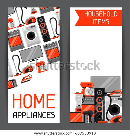 Banners Home Appliances Household Items Sale Stock Vector Royalty