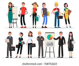 Banners of labor day and business team, people various occupations celebrates national holiday vector illustration professions set