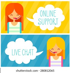Banners with live chat support managers, young smiling girls with headset. Vector flat illustration.