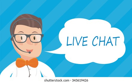 Banners with live chat support managers, young smiling hipster boy in glasses with headset. Vector flat illustration.
