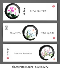 Banners with lotus flowers, wild orchid and sakura blossom in zen circle. Oriental painting sumi-e, u-sin, go-hua. Contains hieroglyphs - peace, tranquility, clarity, happiness, dreams come true
