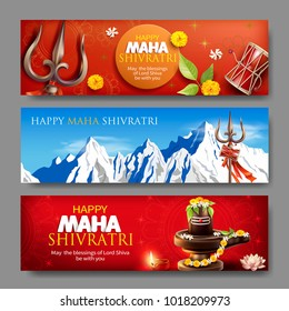 Banners for Maha Shivratri, a Hindu festival celebrated of Lord Shiva. Vector set.
