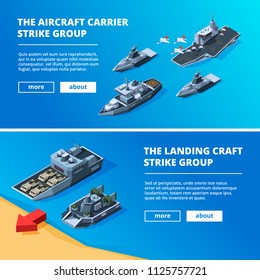 Banners with military boats. Vector pictures of warships. Military boat transportation, navy vessel illustration
