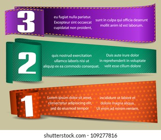 banners with numbers and place for text
