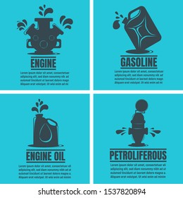 Banners of Oil Business. Oil Development and Extraction Flyer. Gasoline, Research. World Petrol Production Background. Oil Biz Symbol, Icon and Badge. Simple Vector illustration.