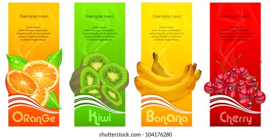 Banners with orange, banana, kiwi and cherries on color background & text, vector illustration