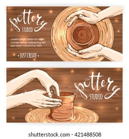 Banners or postcards with traditional pottery making, close up of potter's hands shaping a bowl on the spinning wheel by red clay; hand drawn vector illustration process making crockery