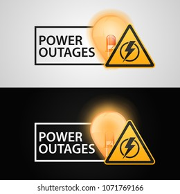 "Banners ""Power outages"" on a black background and white background."