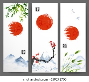 Banners with red sun, mountains, bamboo, sakura, leaves of grass and dragonflies. Traditional oriental ink painting sumi-e, u-sin, go-hua. Contains hieroglyph - happiness.