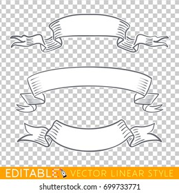 Banners ribbons. Editable line drawing. Stock vector illustration
