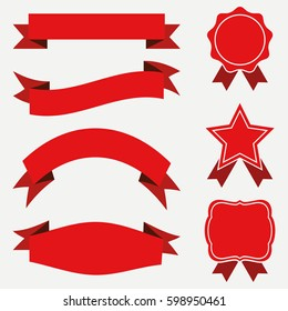 Banners and ribbons, labels set. Red stickers on white background. Vector illustration.